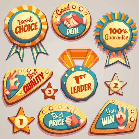 Vector set of colored brightly badges with hand gesture symbols. Illusztráció