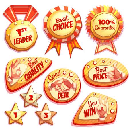 gesture set: Vector set of colored brightly badges with hand gesture symbols. Illustration