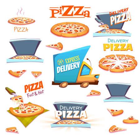 pizza box: Vector conjunto de iconos de la pizza, etiquetas, signos, símbolos y elementos de diseño.