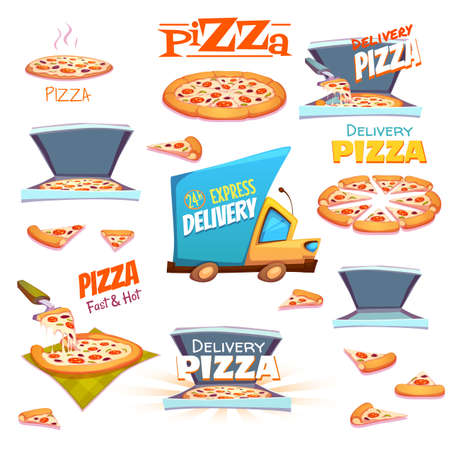 symbol: Vector set of Pizza icons, labels, signs, symbols and design elements.