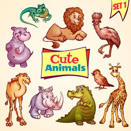 herbivorous animals: Vector set of cute animals. Lion, rhino, giraffe and etc Illustration
