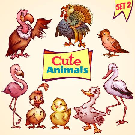Vector set of cute birds. Turkey, goose, flamingo and etc Vector
