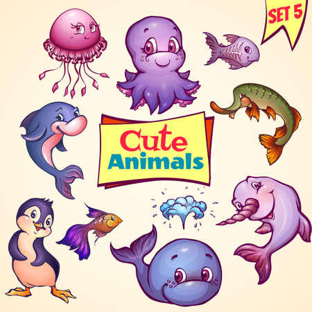 Vector set of cute sea animals. Dolphin, pike, octopus and etc