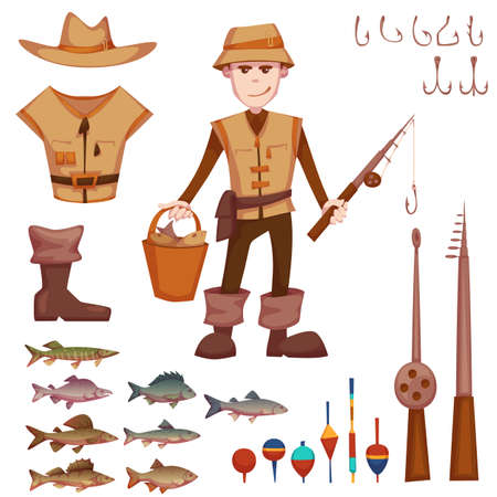 fisherman: Vector set with fisherman and fishing rods, fishes, hooks and etc.
