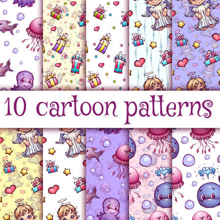 oceanography: Vector seamless pattern with cute cartoon illustrations.