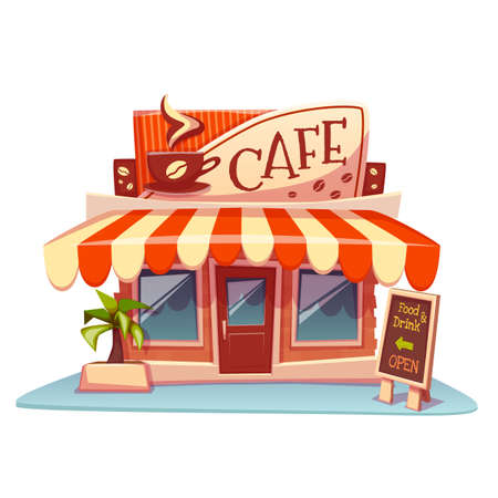 Vector illustration of cafe building with bright banner.