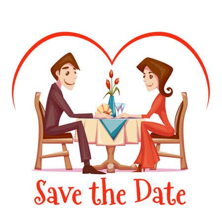 desayuno romantico: Ilustración vectorial de cita romántica de hombre y mujer en el restaurante.