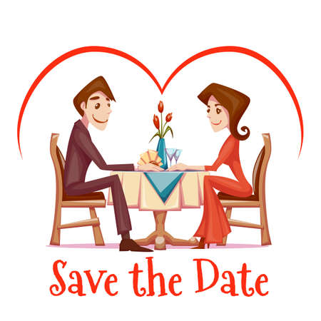 tables: Vector illustration of romantic date of man and woman in restaurant. Illustration