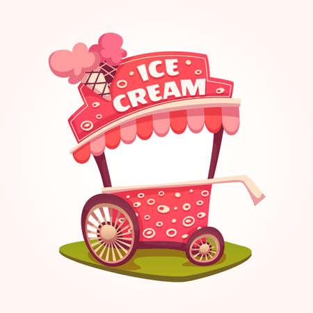carretto gelati: Illustrazione piatto di gelato carrello.