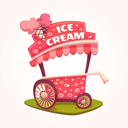 Vector flat illustration of Ice Cream cart. 矢量图像