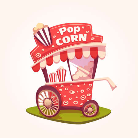 Vector flat illustration of Pop Corn cart.