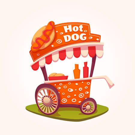 hot sale: Vector flat illustration of Hot Dog cart.