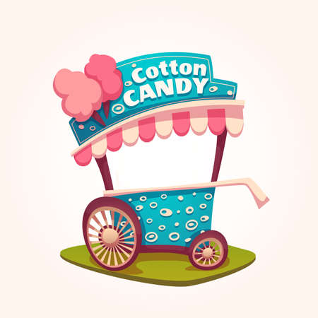 Vector flat illustration of Cotton Candy cart. 矢量图像