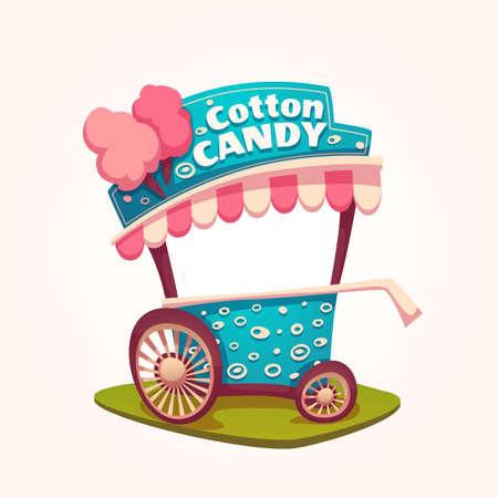caramelos: Vector ilustraci�n plana de algod�n de az�car de la compra.