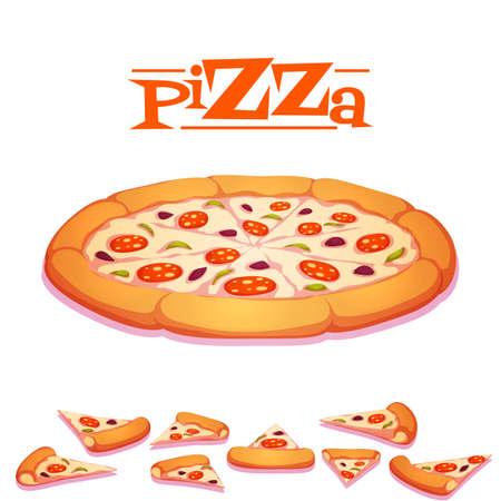 Vector illustratie van hete pizza op een witte achtergrond.