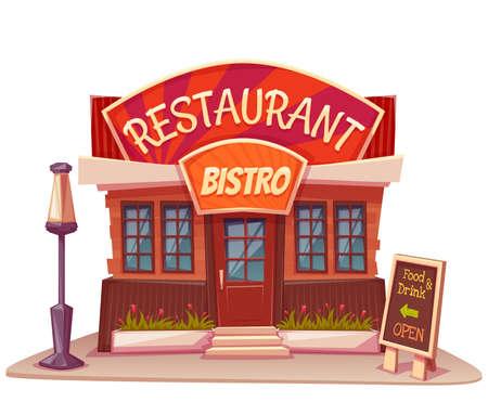 ristorante: Illustrazione vettoriale di ristorante e costruzione bistro con banner luminoso. Vettoriali
