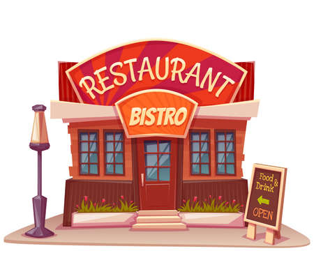 food store: Vector illustration of restaurant and bistro building with bright banner.
