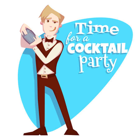 Vector illustration of barman for cocktail party.