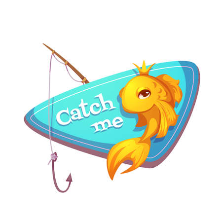 color image fish hook: Vector illustration of cut gold fish with fishing rod. Illustration