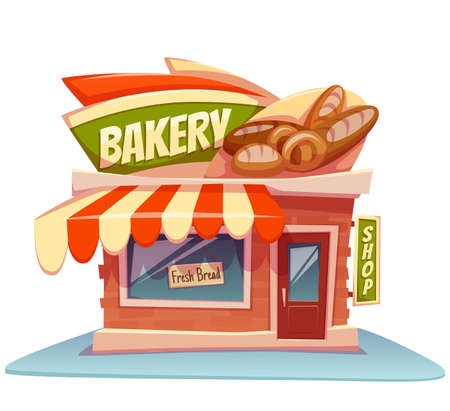 baker cartoon: Vector illustration of bakery building with bright banner.