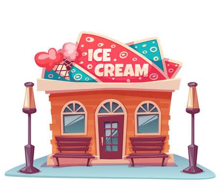 Ilustración vectorial de heladería edificio con bandera brillante.