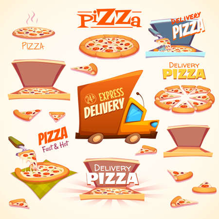pepperoni pizza: Vector set of Pizza icons, labels, signs, symbols and design elements.