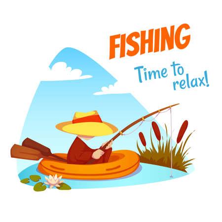 pescador: Ilustración vectorial de pescador en el barco.