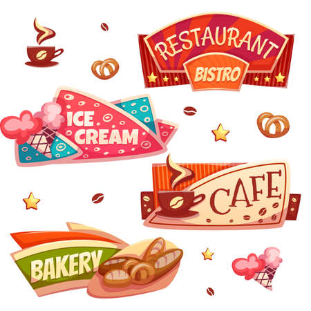 Vector set of brightly banners for cafe, bakery, ice cream shop and restaurant.