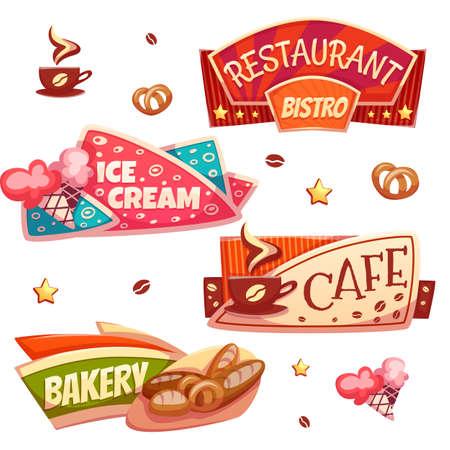 Vector set van fel banners voor cafe, bakkerij, ijssalon en een restaurant.