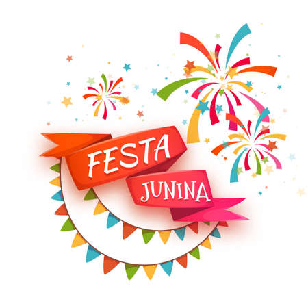 june: Red ribbon with title for Brazil june party. Vector illustration.