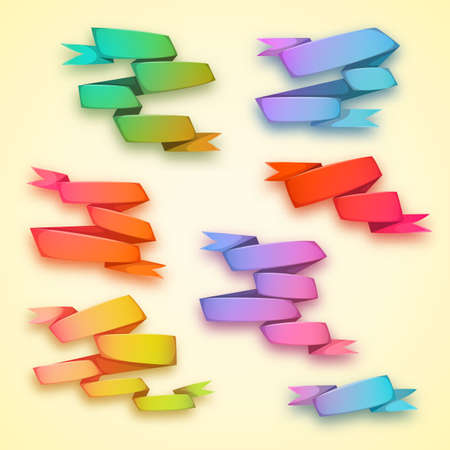 Vector set of curved ribbon rainbow paper banners.