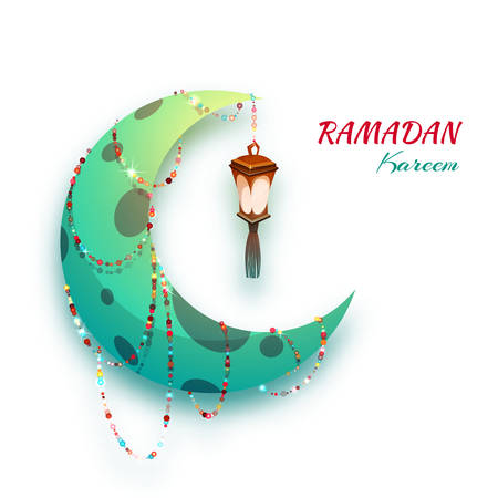 islam moon: Banner with moon and arabic lantern for holy month of muslim community Ramadan Kareem. Vector illustration.