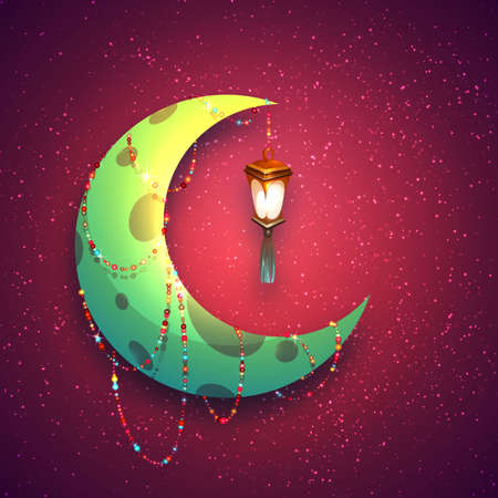 Banner with moon and arabic lantern for holy month of muslim community Ramadan Kareem. Vector illustration.