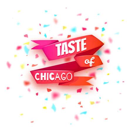 축하: 시카고 배너의 맛. 제목 빨간 리본. 벡터 일러스트 레이 션.