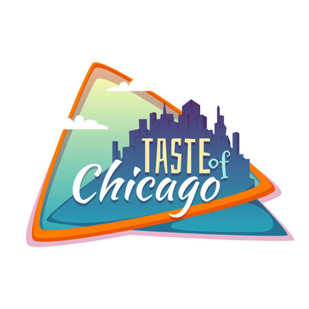 chicago: Taste of Chicago banner. Flat town with title. Vector illustration.