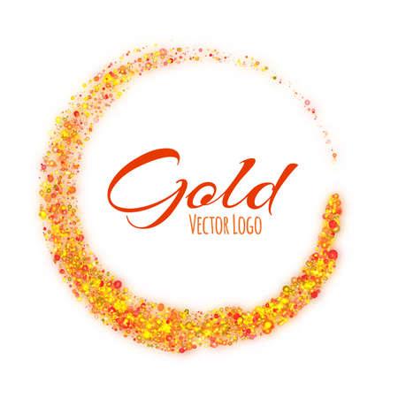 banger: Gold rounded banner with text on white background. Vector illustration. Illustration
