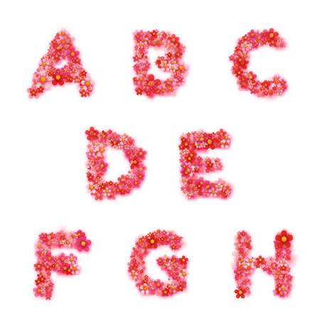 English floral alphabet. Bright font, letters, flowers. Vector illustration.