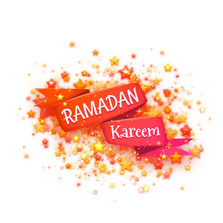 Banner with red ribbon and arabic lantern with title for holy month of muslim community Ramadan Kareem. Vector illustration. Illusztráció