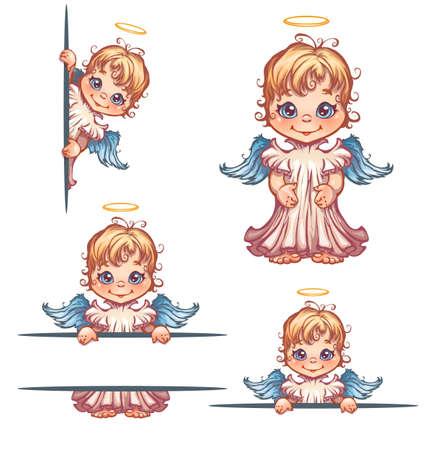 set van schattige engel met paneel voor tekst. Stock Illustratie