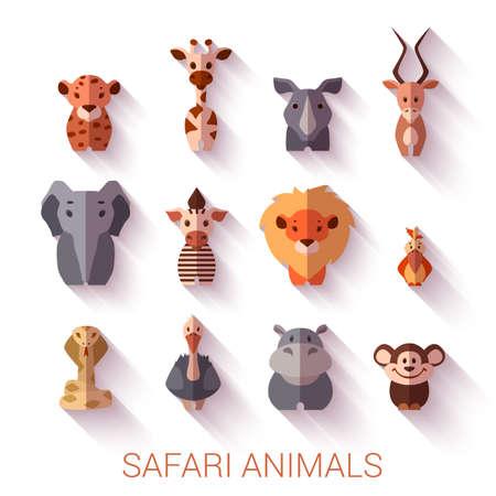 animales safari: conjunto de animales de Safari. Estilo plano. Vectores