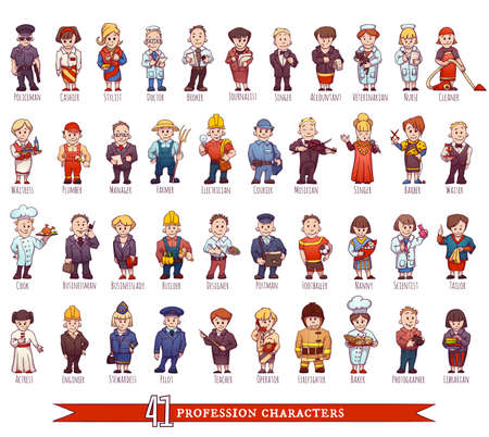 profesiones: conjunto de personas de negocios, tales como policía, médico, trabajador y otra.