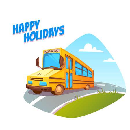 cartoon safety: illustration of school bus on background.