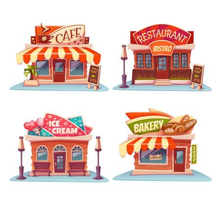 helados caricatura: conjunto de cafetería, restaurante, helado-tienda y panadería.