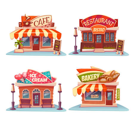 draw: set of Cafe, restaurant, ice-cream shop and bakery.