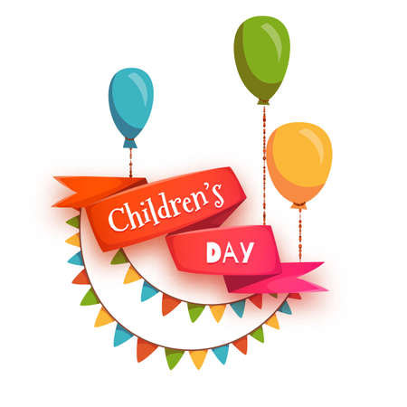 child: Red ribbon with Children Day title Illustration