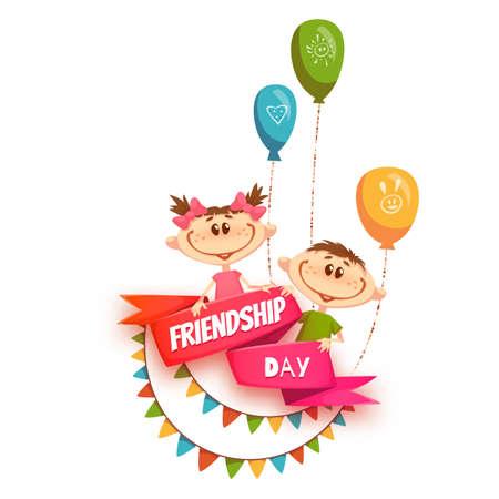 дети: Красная лента с названием День дружбы