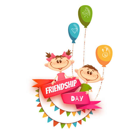 kinderen: Rood lint met Friendship Day titel