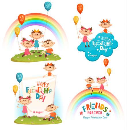 amicizia: Set con poster di Friendship Day celebrazione. Vettoriali