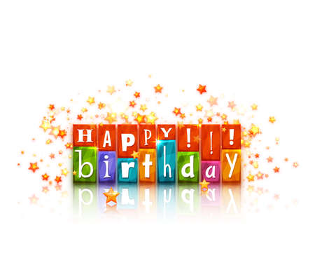 happy birthday text: Color blocks with letters.  Illustration