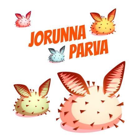 slug: Set of sea cute slug Jorunna Parva. Vector illustration.